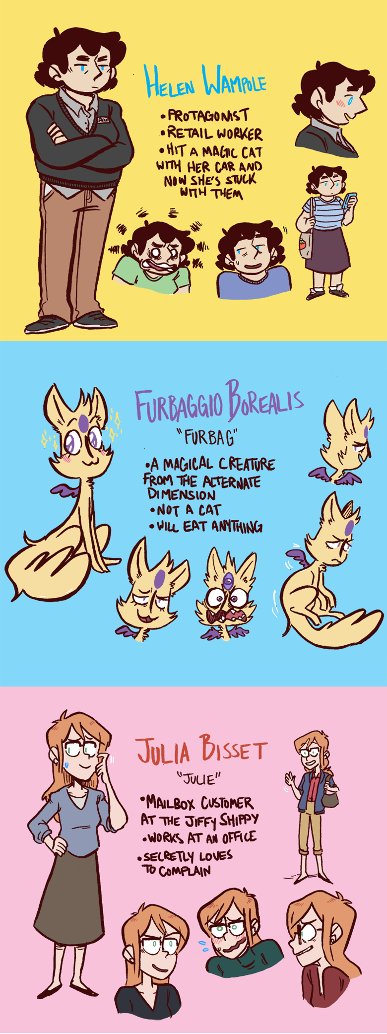 characters! Furbag uses they/them pronouns which I realize I didn't put in their bio.